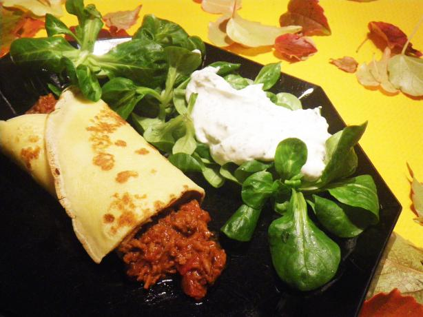 Crepes or Omelette With Tasty Ground Meat