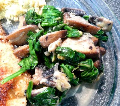 Paula's Spinach and Mushrooms