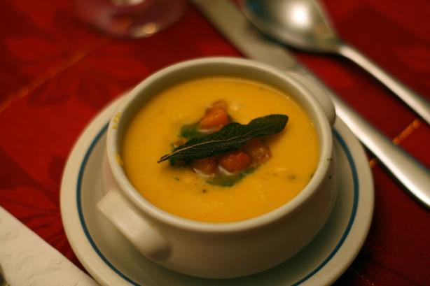 Roasted Butternut Sqaush Soup With Sage Oil