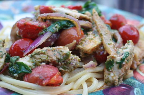 Chilli Chicken Noodles With Coriander Pesto
