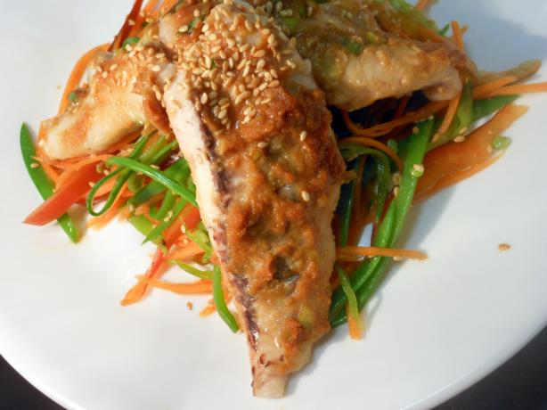 Miso Fish With Snow Peas Salad