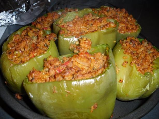Soy and Bulgur Stuffed Peppers