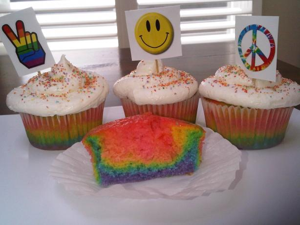 Psychedelic 60's Tie-Dye Cupcakes