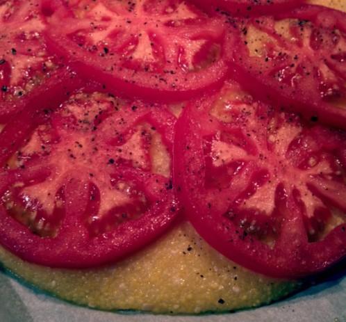 Garlic Tomato Polenta Cakes