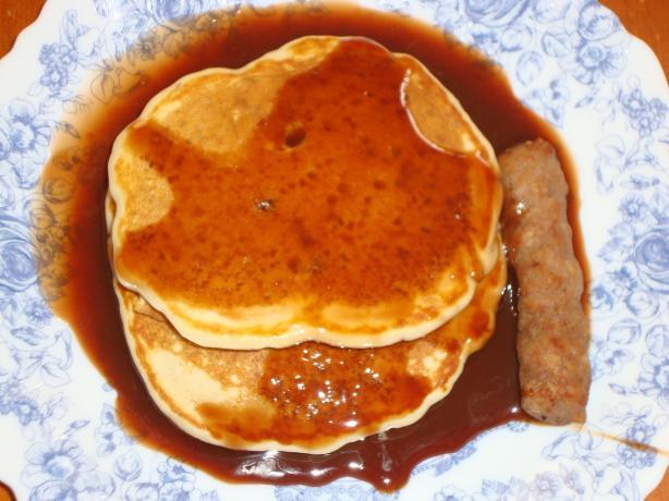 Pecan Pancakes With Fudge Syrup