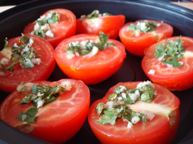 Grilled Gremolada Tomatoes