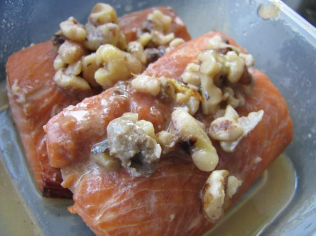 The Best Marinated Salmon (Or Steelhead Trout) With Maple Walnut