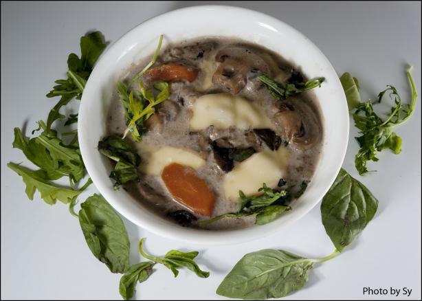 Creamy Mushroom, Barley and Lima Bean Soup