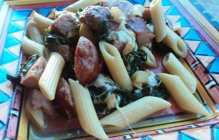 Pasta With Kielbasa and Swiss Chard