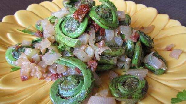 Fiddleheads With Sundried Tomatoes, Onions and Garlic