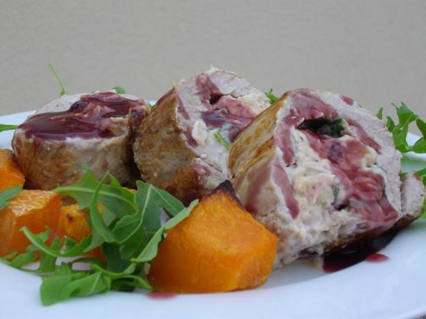 Fruit and Macadamia Stuffed Pork Loin With Port Sauce