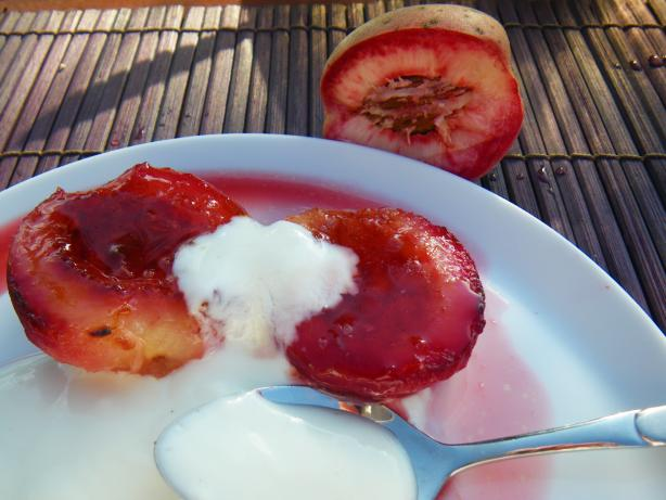Bourbon Glazed Peaches With Yogurt