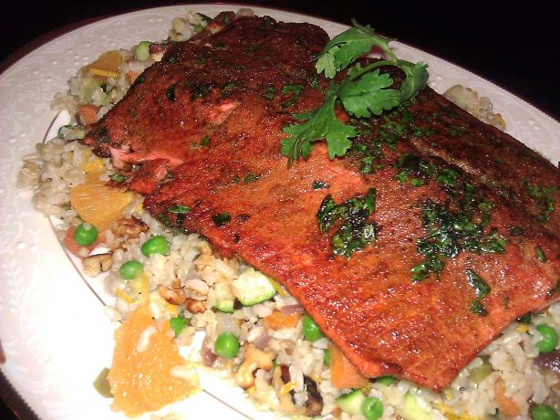Cumin Crusted Salmon With Orange Rice Pilaf