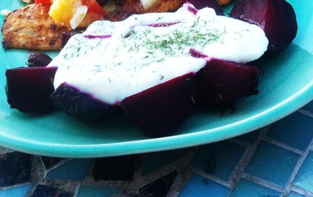 Roasted Beets With Dill Yogurt Sauce