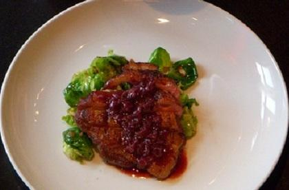 Seared Duck With Pinot Noir/Pomegrante Reduction