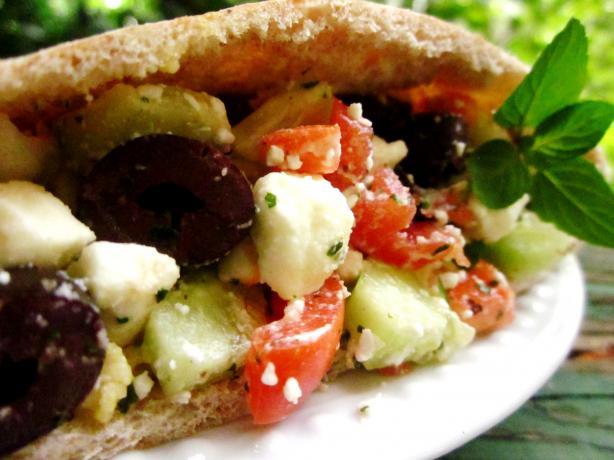 Hummus Pitas With Feta-Olive Salsa