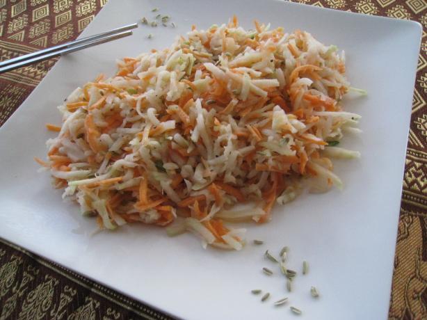 Kohlrabi Salad in Fennel Seed Dressing