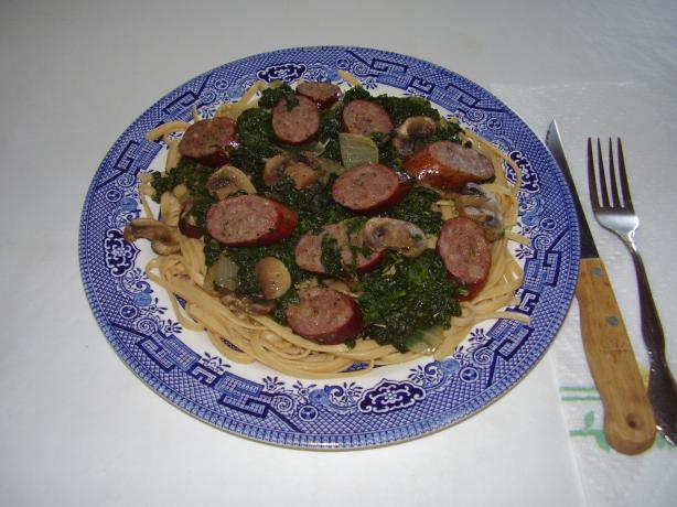 Smokey Brats & Spinach Pasta