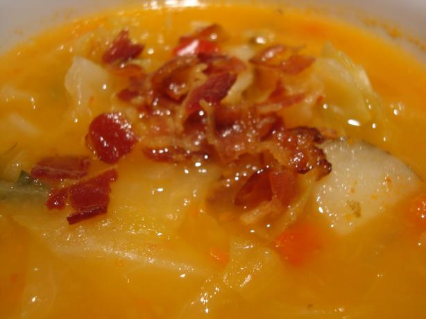 Non-Dairy, Creamy Vegetable Soup With Bacon