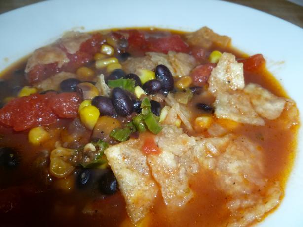 Tortilla, Black Bean, Corn and Tomato Soup