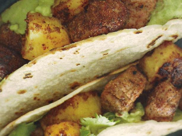 Pineapple and Pork Tacos With Avocado Crema