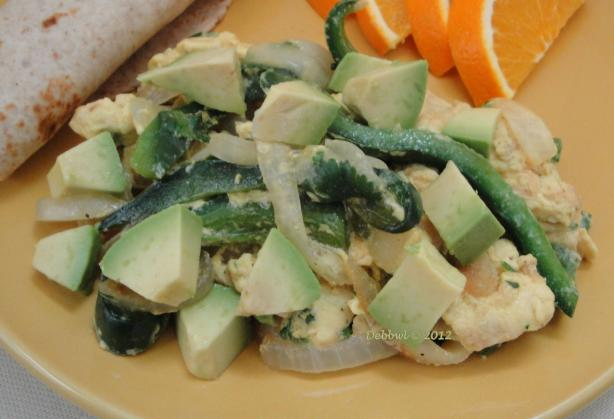Egg, Poblano and Avocado Scramble (Ww)