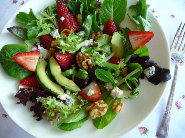Strawberry Avocado Salad With Field Greens