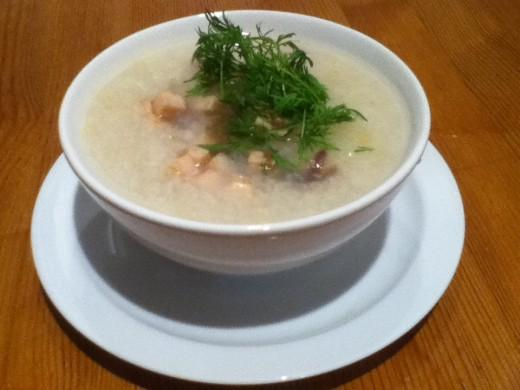 Rice Soup With Chicken Cubes