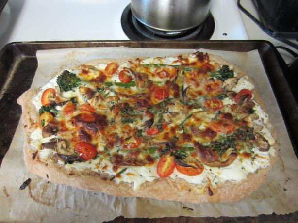 White Shiitake Broccolini Tomato Pizza