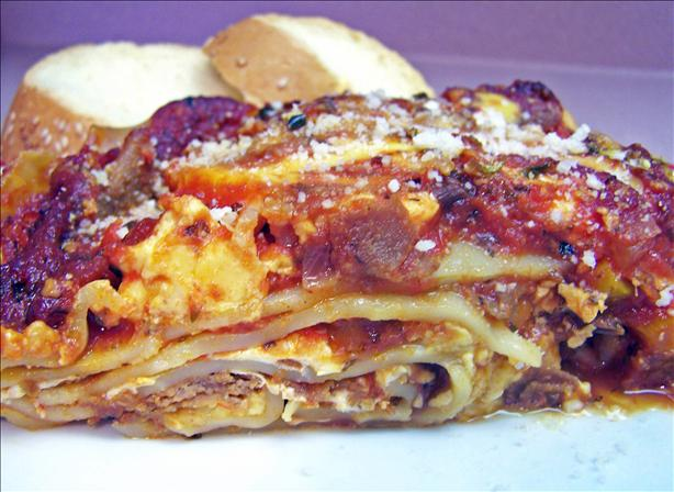 Cheese Steak-Yumm Lasagna With the Works!