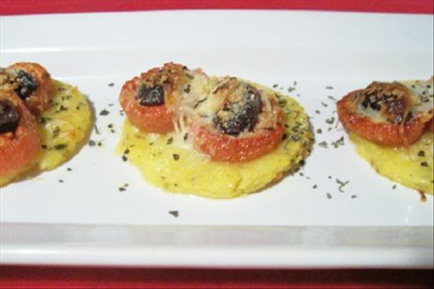 Polenta Pizzas With Roasted Tomatoes and Kalamata Olives