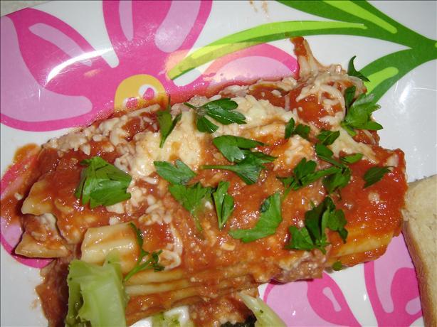 Cheesy Sausage & Tomato Manicotti