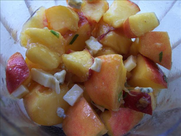 Tarragon Peaches With Crumbled Roquefort