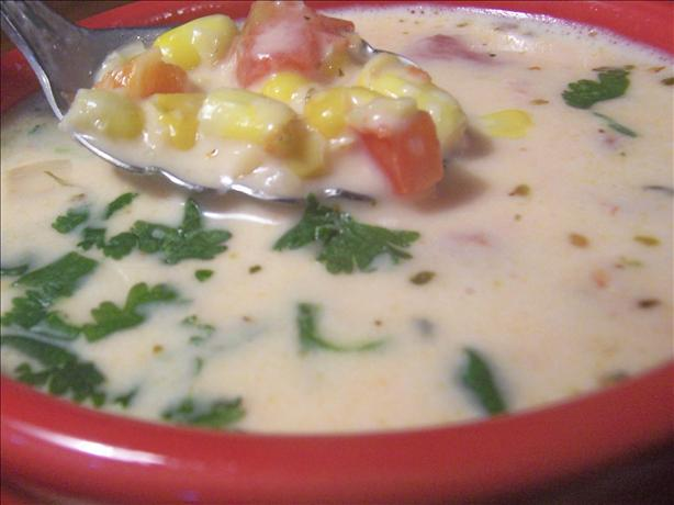 Creamy Corn Soup With Red Bell Pepper