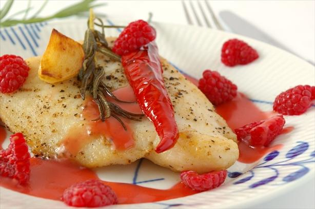 Pan Seared Fish With Raspberry Vinaigrette