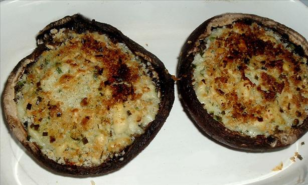 BBQ'd Panko Mozzarella Stuffed Portabellas