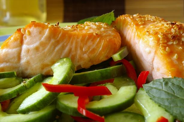 Roasted Salmon With Chile Minted Cucumbers