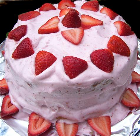 Rich White Cake With Strawberry Frosting