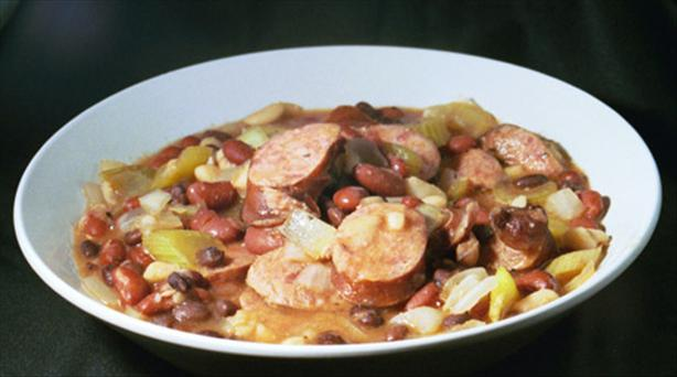 Slow Cooked Three Beans and Sausage
