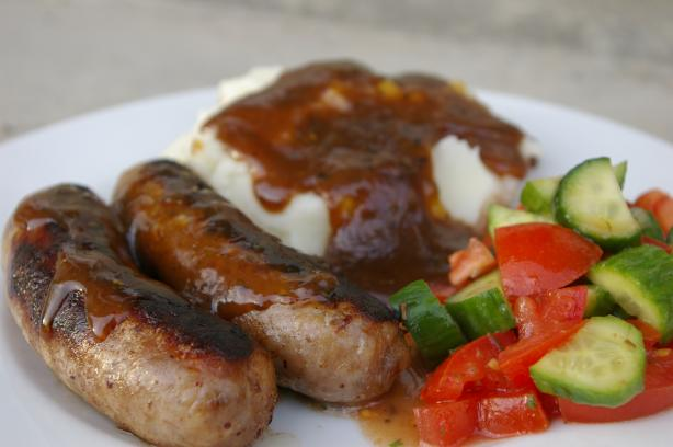 Brats With Beer Gravy -- Man Fuel