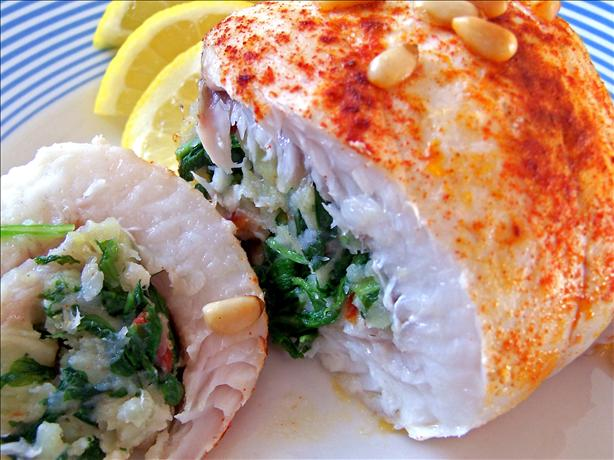 Flounder Stuffed With Arugula (Rocket) and Sun-Dried Tomatoes