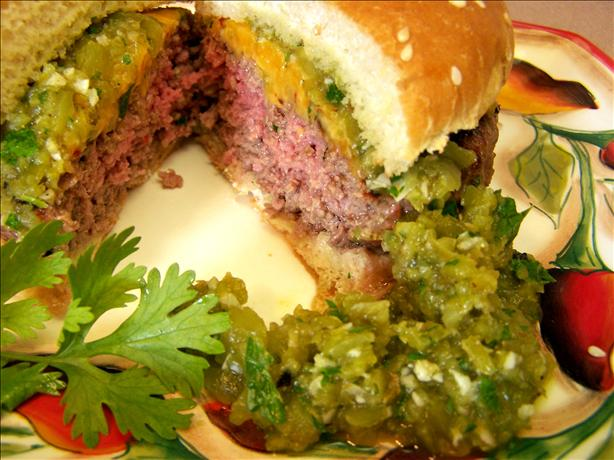 Chile Sirloin Burgers With Salsa Verde