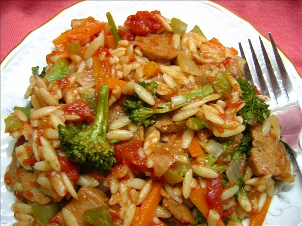 Orzo & Spicy Italian Veggie Sausage Medley