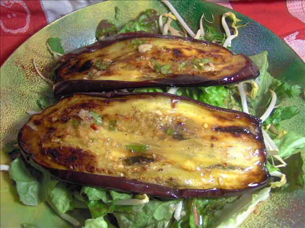 Eggplant Salad With Miso Ginger Dressing
