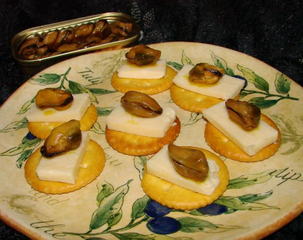 Smoked Oysters and Cheddar on Saltines