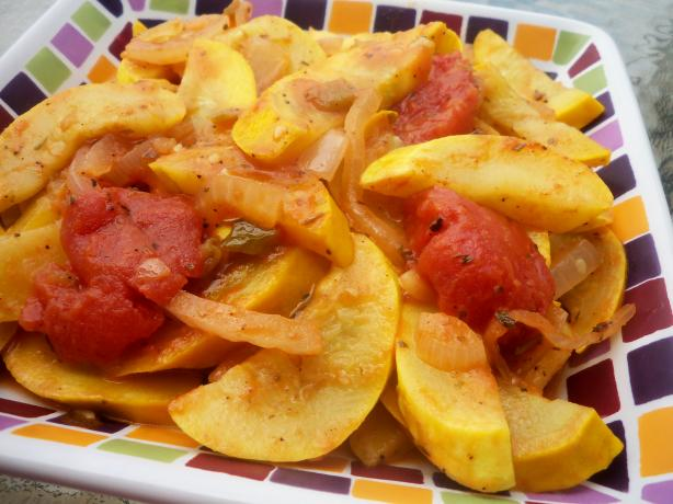 Sauteed Yellow Squash and Tomatoes