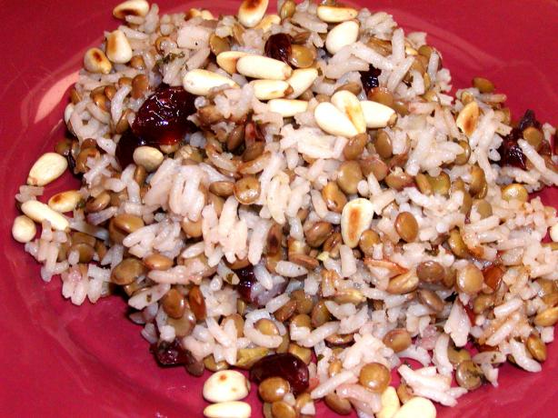 Rice, Lentils and Dried Cranberries Garnished With Pine Nuts