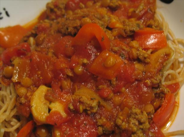 Curried Spaghetti Sauce With Lentils