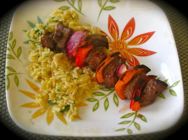 Beef Kabobs & Parmesan Orzo