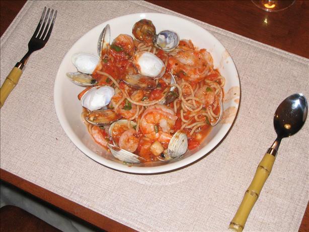 Spaghetti a La Bruschetta With Seafood